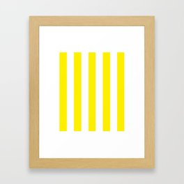 Canary yellow - solid color - white vertical lines pattern Framed Art Print