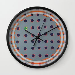 Green Floats on Yellow - orange circle Wall Clock