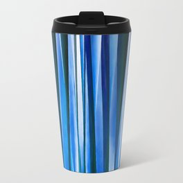 Harmony and Peace Blue Striped Abstract Pattern Travel Mug