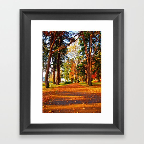 Autumn pathway Framed Art Print