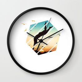 Cliff Jump Retro Vintage Sunset Cliff Diving Gift Wall Clock