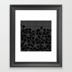 Cherry Blossom Grid Black Framed Art Print