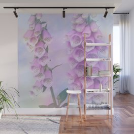 Pastel painterly foxgloves Wall Mural