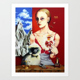 Lady with a Langur Art Print