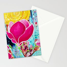 STAINED GLASS MAGNOLIAS Stationery Cards