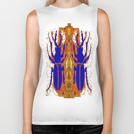 Lapis Blue Beetle on Gold Biker Tank