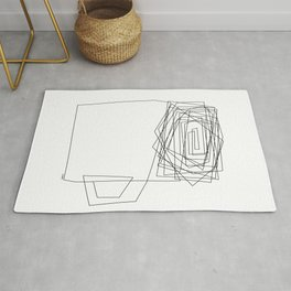 Coffee Illustration Black and White Drawing One Line Art Rug