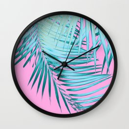 Palm Leaves Pink Blue Vibes #1 #tropical #decor #art #society6 Wall Clock