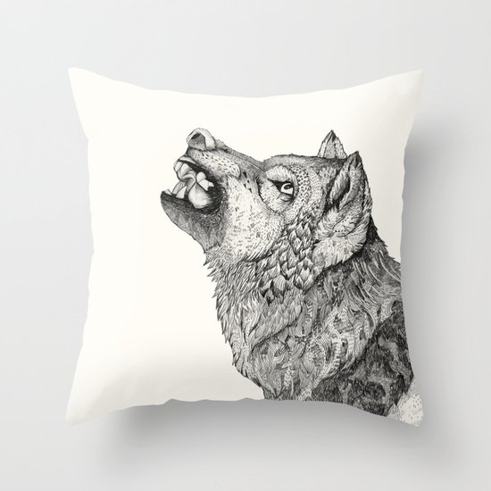 Wolf // Graphite Throw Pillow