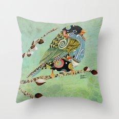 Cafe Swirly Bird 5 Throw Pillow