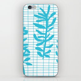 Grid Sprig - aqua blue iPhone Skin