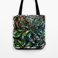cthulu Tote Bags featuring Johnny Cthulhu by J.M. Hunter