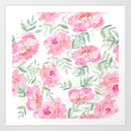Watercolor Peonie with greenery Art Print