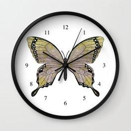aubergine limelight swallowtail (Papilio linta) Wall Clock