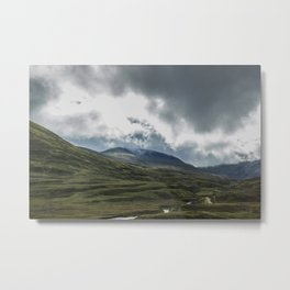 Scottish Mountains with Rain Clouds Metal Print
