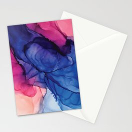 Pondering- Blue and Blush- Alcohol Ink Painting Stationery Cards