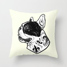 French Bulldog Tattooed Dog Throw Pillow