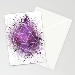 d20 Icosahedron Crystal Wind Stationery Cards