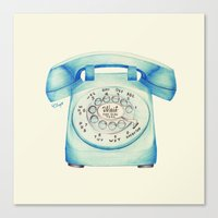 novelty Canvas Prints featuring Rotary Telephone - Ballpoint by One Curious Chip
