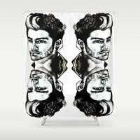 zayn Shower Curtains featuring Zayn Malik  by Clairenisbet