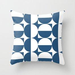 Mid century white and blue Throw Pillow