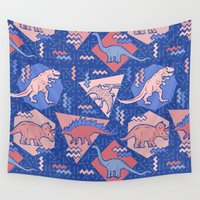 edm Wall Tapestries featuring Nineties Dinosaurs Pattern  - Rose Quartz and Serenity version by chobopop