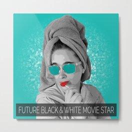 Future Black and White Movie Star Metal Print