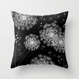 DANDELION SNOWFLAKE BLACK Throw Pillow