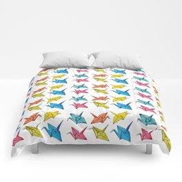 Colourfull paper cranes Comforters
