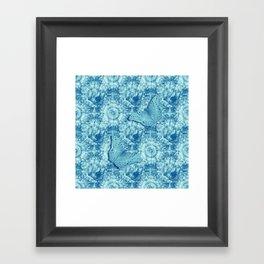 Butterflies on butterflies in blue Framed Art Print