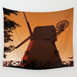 Windmill at sunset Wall Tapestry