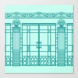 ART DECO, ART NOUVEAU IRONWORK: Blue Green Dream Canvas Print