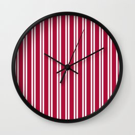 Crimson and White Wide Small Wide Stripes Wall Clock