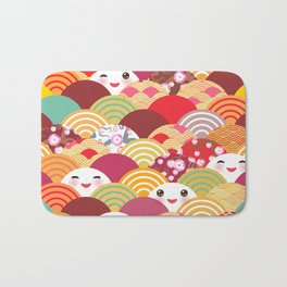 Kawaii Nature background with japanese sakura flower, wave pattern Bath Mat