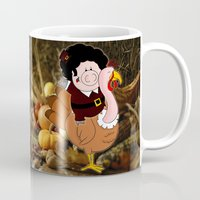 thanksgiving Mugs featuring Thanksgiving turkeys by Afro Pig