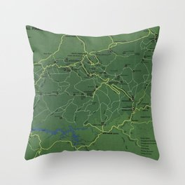 The Great Smoky Mountains National Park Map (1971) Throw Pillow