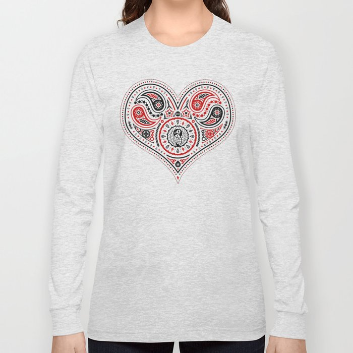 83 Drops - Hearts (Red & Black) Long Sleeve T-shirt