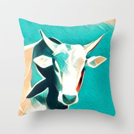 Blue Sky Cow Throw Pillow