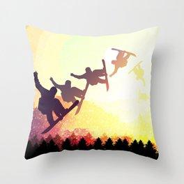 Snowboard Skyline Rainbow Throw Pillow