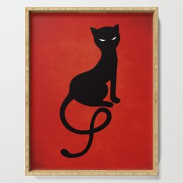 Red Gracious Evil Black Cat Serving Tray