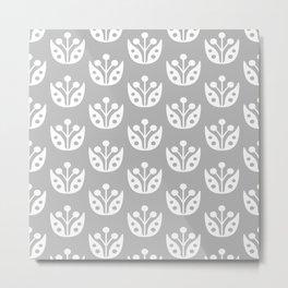 Mid Century Modern Abstract Flower Pattern 821 Gray Metal Print