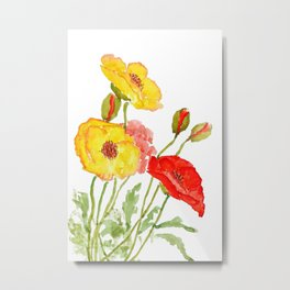 red and yellow  poppies Metal Print