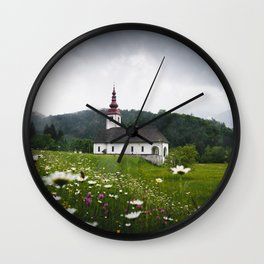 Church in a Meadow Scenic Landscape Wall Clock