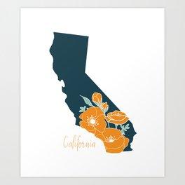 California State Flower Poppy Silhouette Floral Art Print