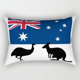 Australian Flag with Emu and Kangaroo T-Shirt Rectangular Pillow