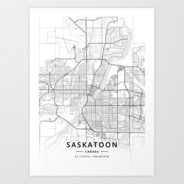 Saskatoon, Canada - Light Map Art Print