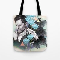 tom hiddleston Tote Bags featuring Tom Hiddleston by Yan Ramirez