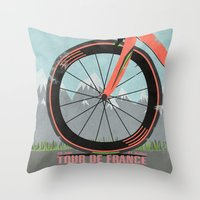 tour de france Throw Pillows featuring Tour De France Bike by Wyatt Design