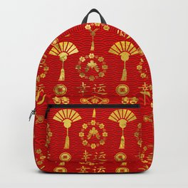 Gold on Red  Lucky Chinese Symbols  Pattern Backpack