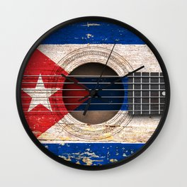 Old Vintage Acoustic Guitar with Cuban Flag Wall Clock
